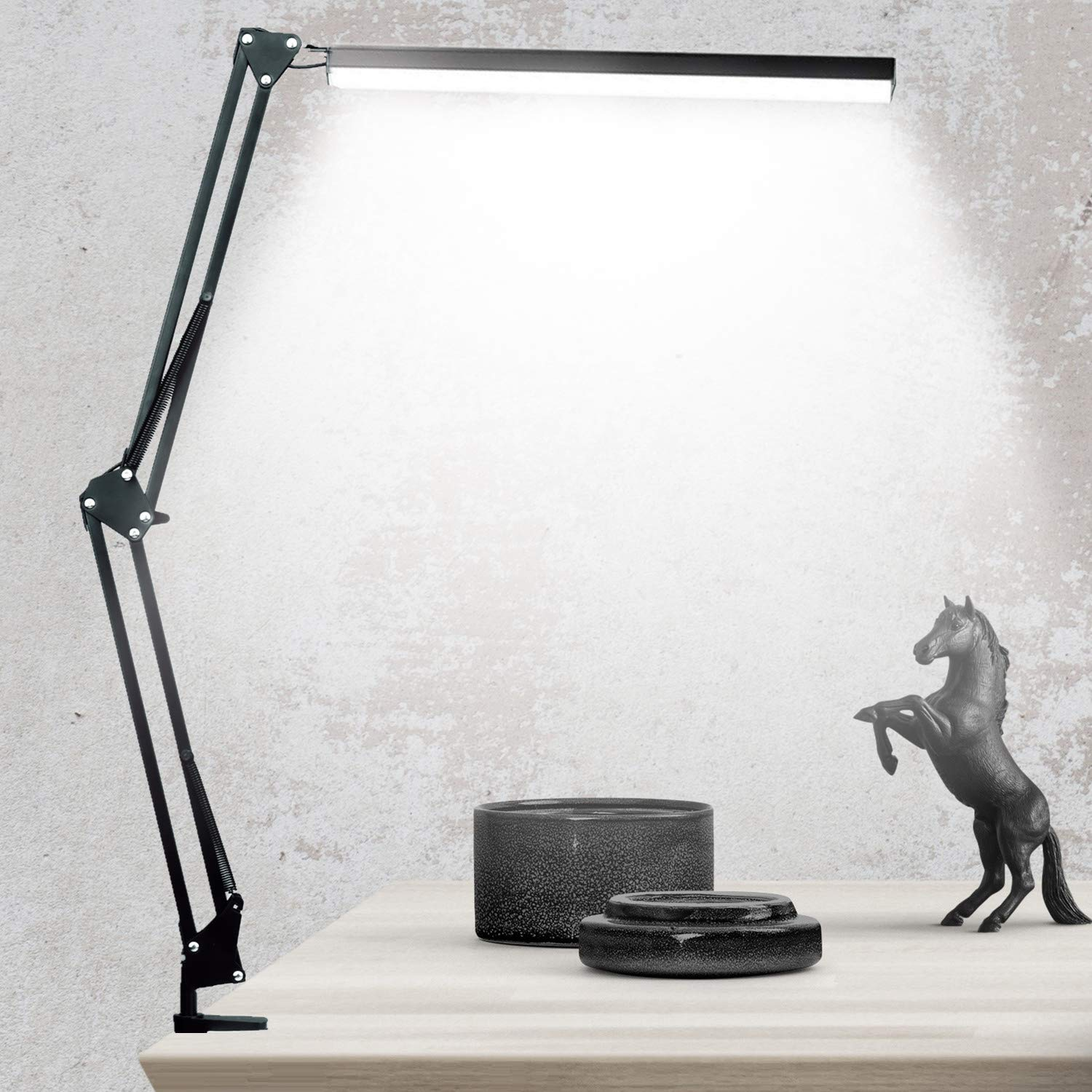 LED Architect Desk Lamp, BZBRLZ Metal Swing Arm Lamp, Infinite Brightness Adjustable, Eye-Caring Dimmable Table Lamp, 3 Color Modes, One-Button Operation, Memory Function