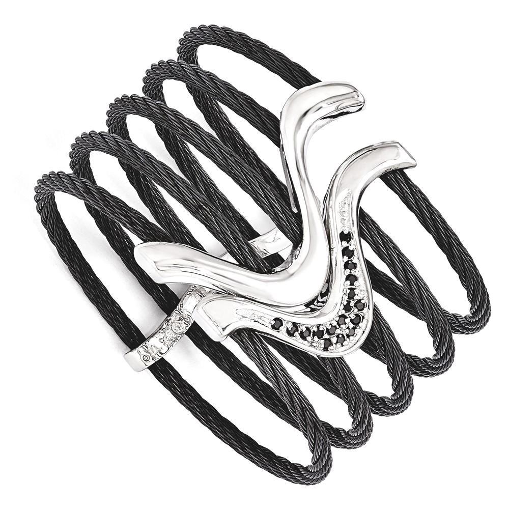 ICE CARATS Edward Mirell Black Titanium 925 Sterling Silver Spinel Cable Flex Cuff Bangl Bracelet Gemstone Fancy Bangle Flexible Fine Jewelry Gift Set For Women Heart