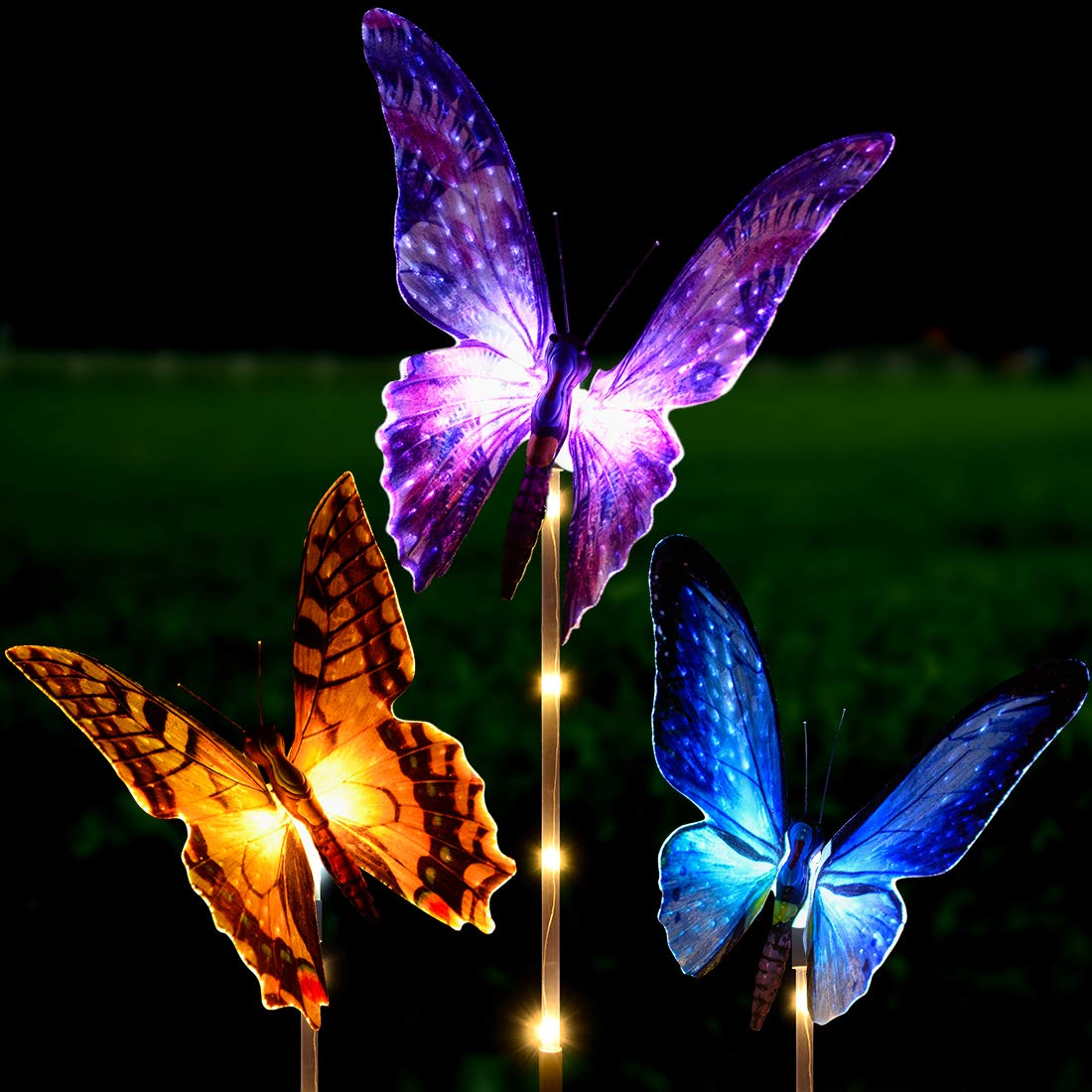 Solar Garden Lights Outdoor - Kearui 3 Pack Solar Stake Light with Fiber Optic Butterfly Decorative Lights, Multi-Color Changing LED Solar Lights for Garden Decorations, Garden Gifts