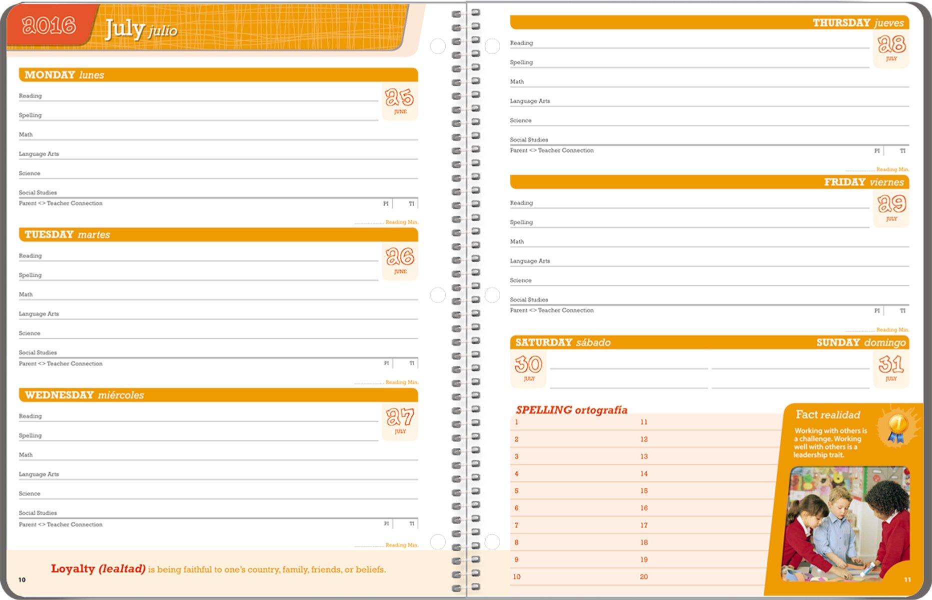 Student Planner 2016 - 2017 School Year Planner Elementary School Content 8.5'' x 11''