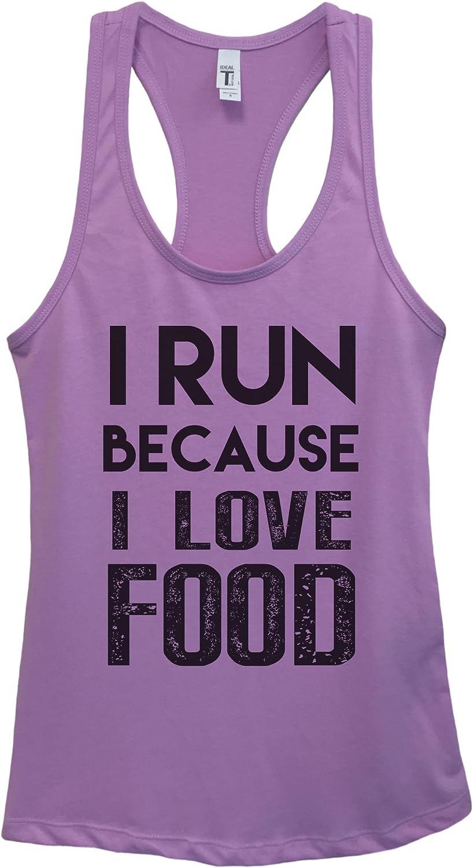 "Funny Threadz Funny Womens Junior Fitness Tank Top ""I Run Because I Love Food"