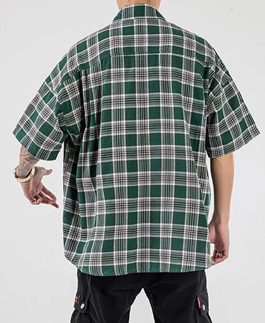 CRYYU Men Plus Size Short Sleeve Contrast Plaid Print Relaxed Fit Casual Checkered Shirt