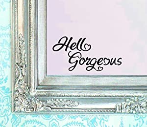 BERRYZILLA Hello Gorgeous Decal V2 Vinyl Sticker Bathroom Mirror Wall Art Motivational Be Amazing Mirror Living Room Home Window