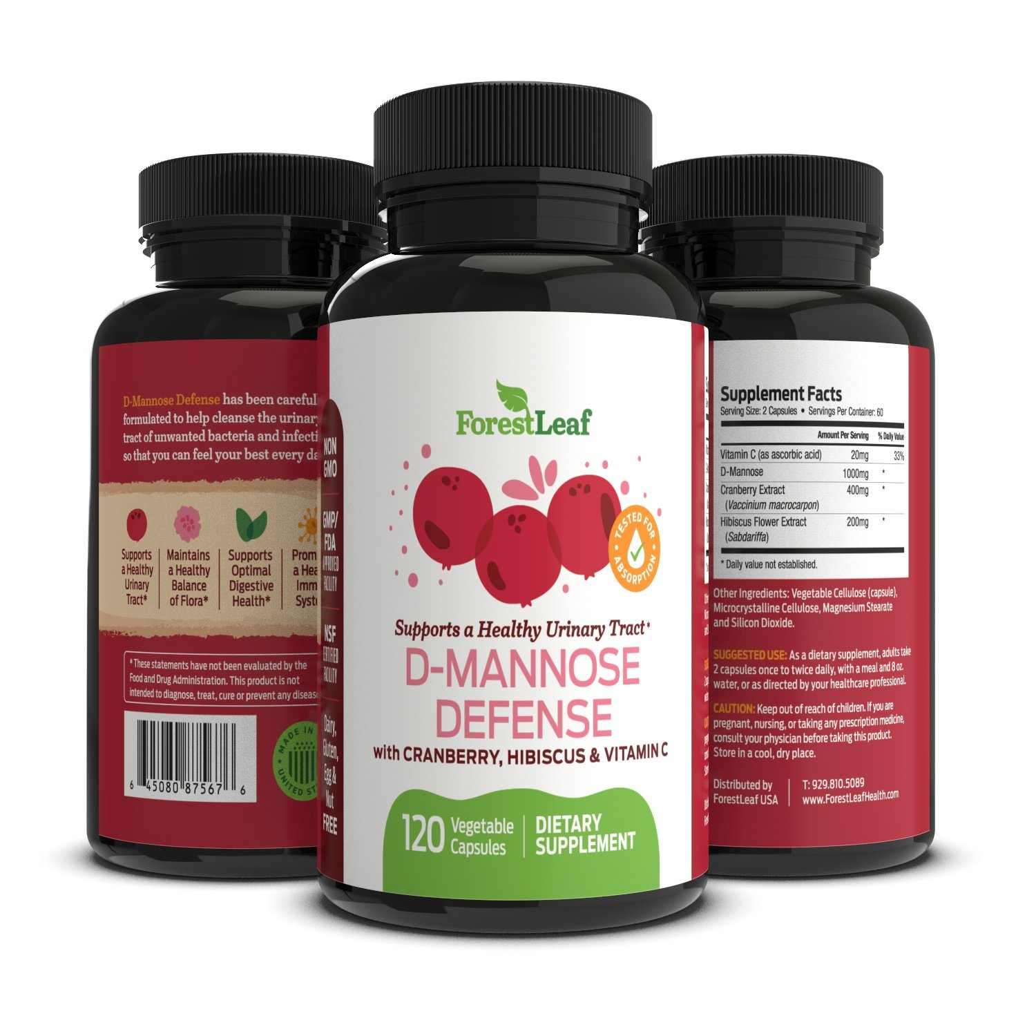 D-Mannose Defense Supplements (1000mg) - Safe, Natural Cleansing for Urinary Tract and Bladder Health- Helps Prevent UTI and Promotes Healthy Immune System and Gut Flora - 120 Capsules - By ForestLeaf by ForestLeaf