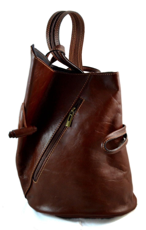 7104d600d73f Amazon.com  Luxury leather backpack travel bag weekender sports bag gym bag  leather shoulder ladies mens bag satchel original made in Italy brown   Handmade