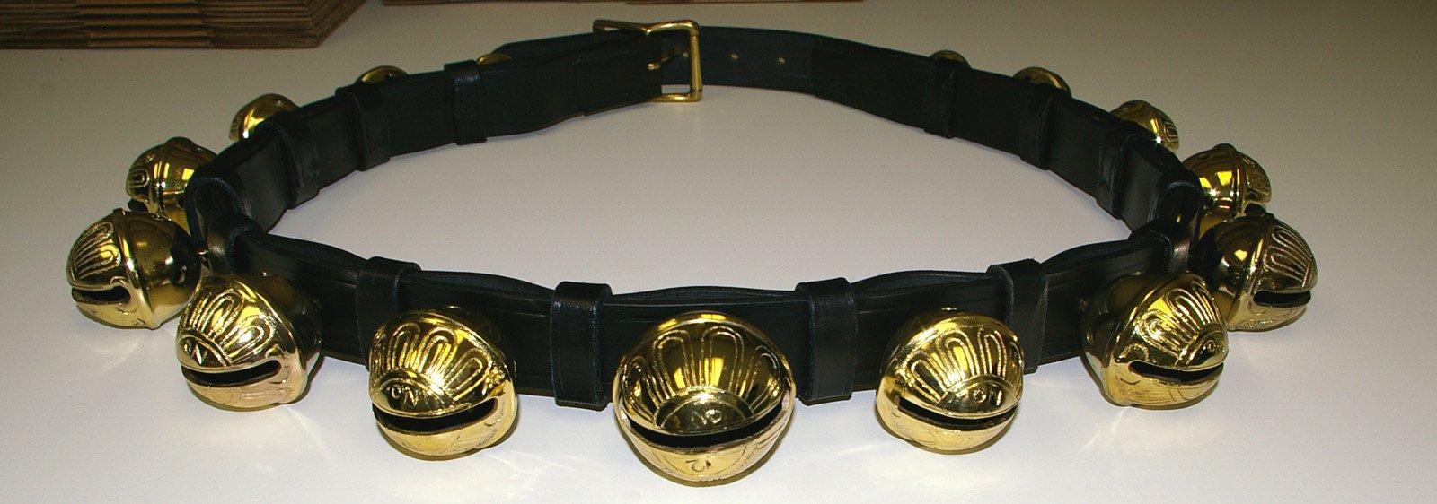 Premium 55 Inch Black Leather Brass Sleigh Bell Buckled Horse Strap Decoration