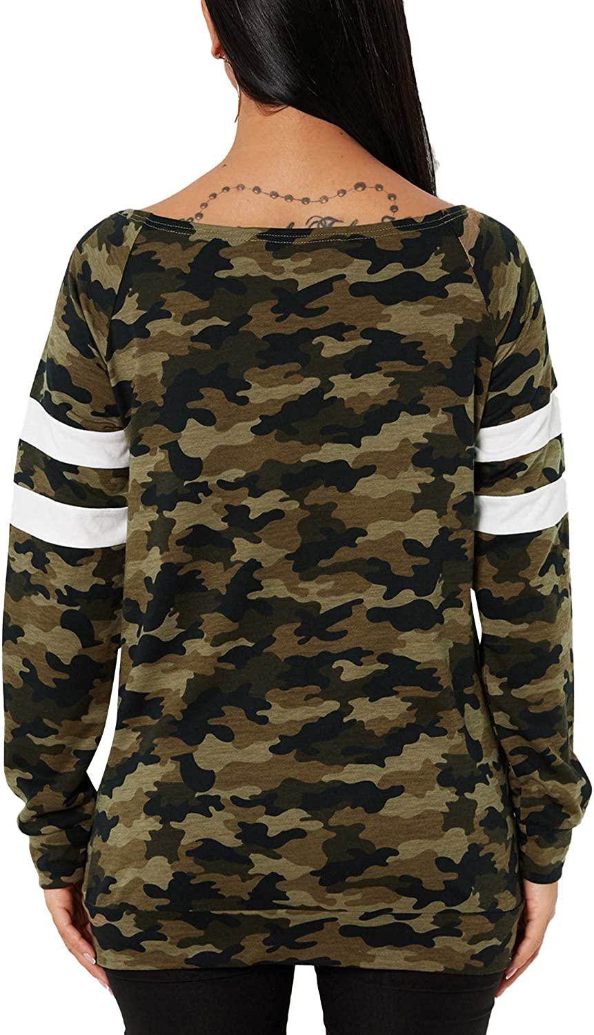 YOINS Women Long Sleeve Tshirts Ladies Jumpers Baseball Tops Round Neck Striped Pullover