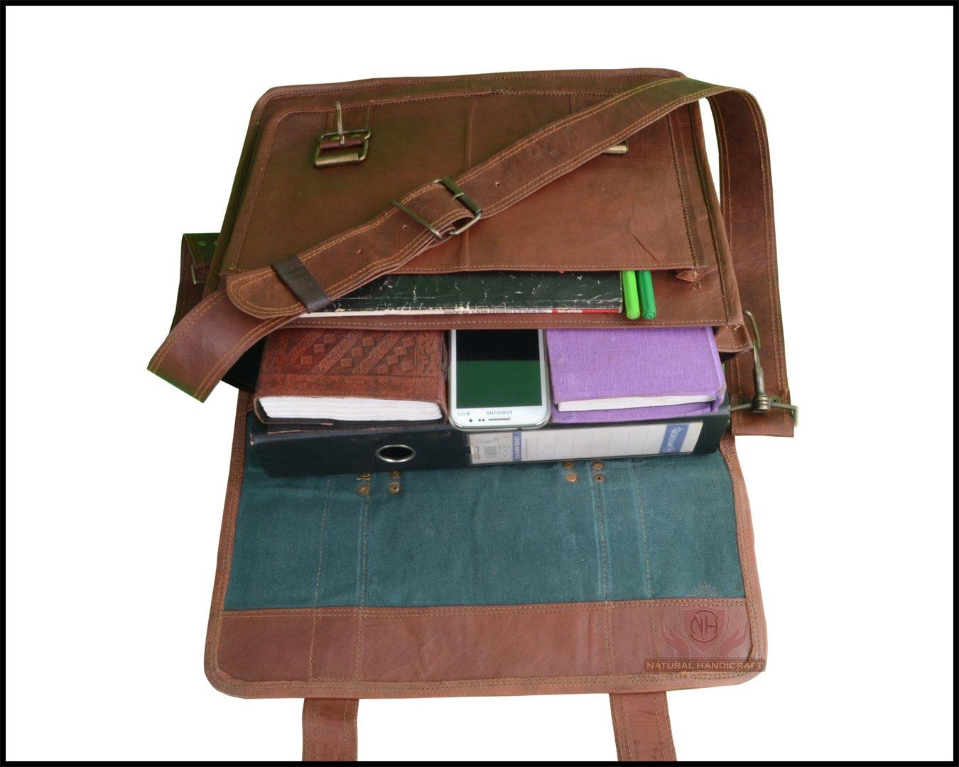 """18/"""" New Genuine Vintage Brown Leather Messenger Shoulder Laptop office Bag"""