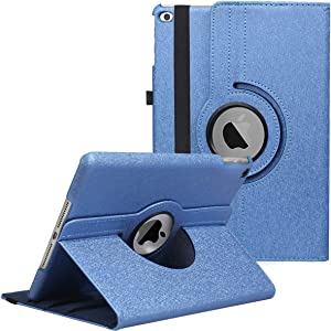 LXS iPad 9.7 inch Case 2018 2017/ iPad Air Case - 360 Degree Rotating Stand Protective Cover Smart Case with Auto Sleep/Wake for Apple iPad 5th/6th Generation (Blue)
