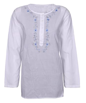 2d57751eca0 Womens Tops Long Sleeve White Brushed Cotton Shirts Casual Blouse Ladies  Tunic Floral Summer Slit Side Crew Neck Regular Fit T-Shirt Embroidery  Kurti Plus ...