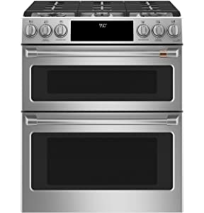"""Cafe 30"""" ADA Slide-In Front Control Dual-Fuel DoublexA0;Oven With Convection Range"""