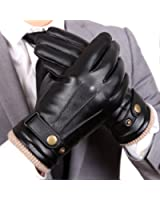 WARMEN Mens Touchscreen Texting Winter PU Faux Leather Gloves Driving Long Fleece Lining Black - Wool/Cashmere Blend Cuff