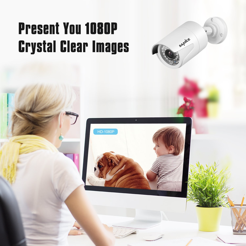 SANNCE 4 Canali Kit sorveglianza Sistema di sicurezza 1080P Kit Telecamera Videosorviglianza 4 Canali IP66 Sistema NVR Visione Notturna per Sicurezza della Famiglia Senza HDD