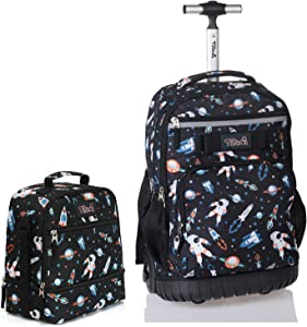 Tilami Rolling Backpack 19 inch with Lunch Bag Wheeled Laptop Backpack, Astronaut