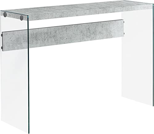 Monarch specialties , Console Sofa Table, Tempered Glass, Grey Cement, 44 L
