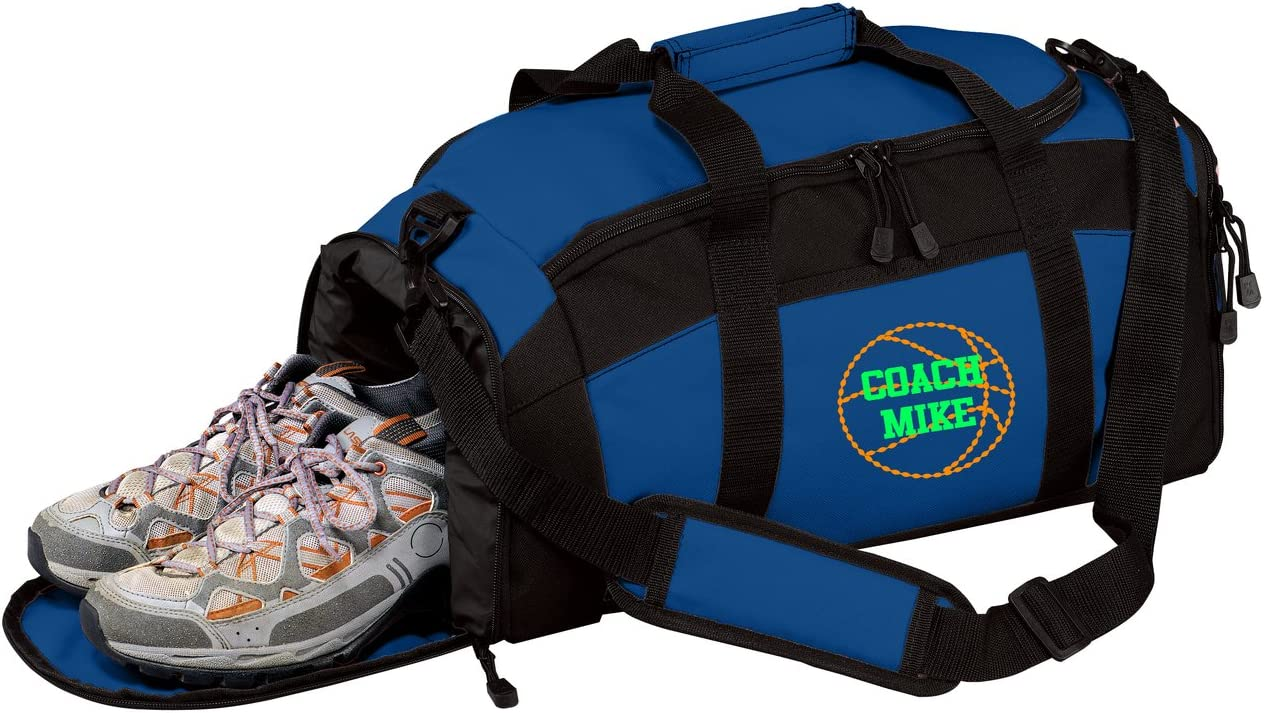 Personalized Basketball Gym Duffel Bag with Custom Text Sports Bag with Customizable Embroidered Monogram Design Royal