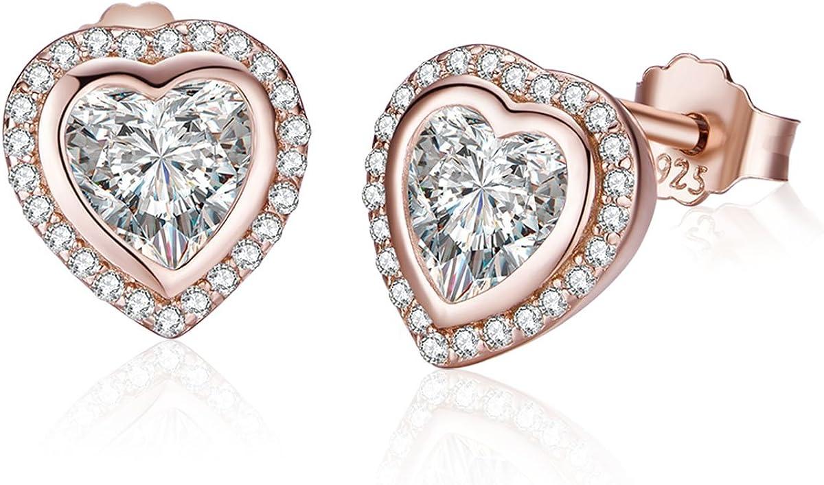 Twenty Plus - Pendientes de tuerca en forma de corazón para mujer, brillantes, color oro rosa