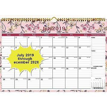 Amazon.com: Calendario de pared 2019-2020 año académico ...