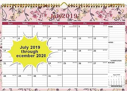 Calendario de pared 2019-2020, año académico, calendario mensual ...