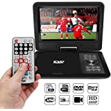 """AOZBZ Portable DVD Player with 9"""" Swivel Screen Rechargeable Battery, Support TV & FM Radio Fuction and Game Console, SD Card Reader and USB Port"""