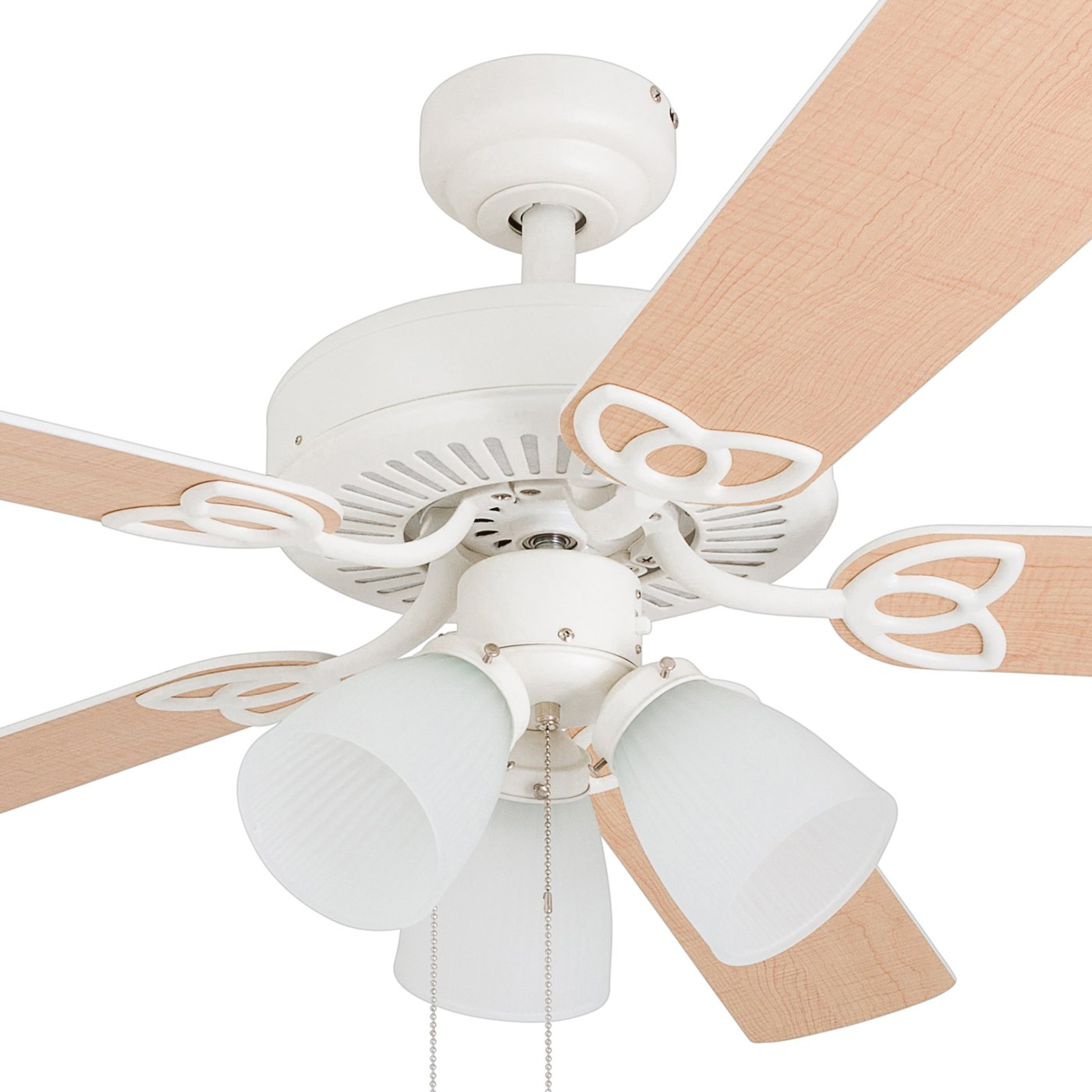 52 inches White 3-Light with Reversible Fan Blades Prominence Home 80022-01 Fletcher Cove LED Ceiling Fan