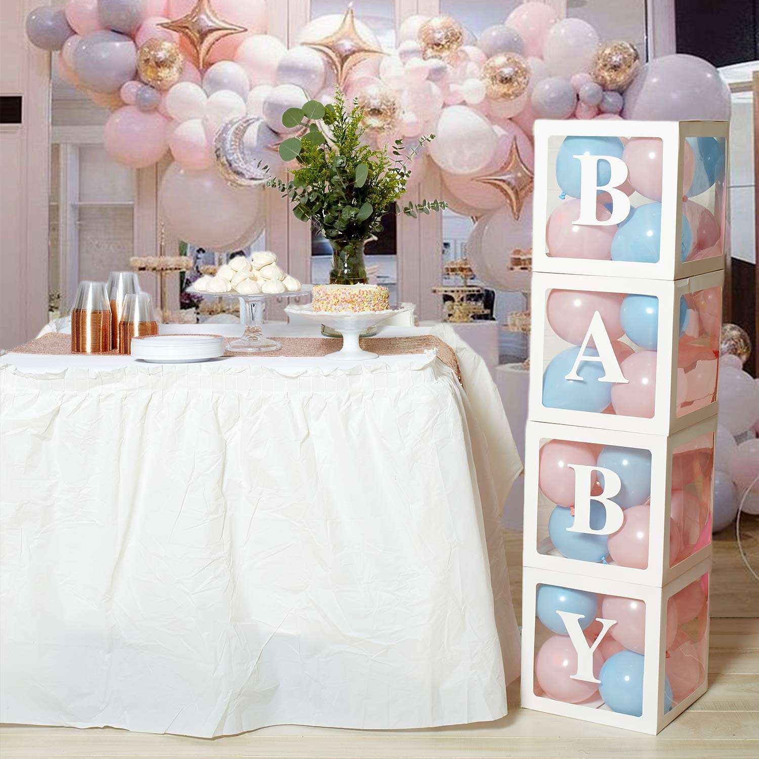Kitveda 40 Piece Transparent Baby Shower Boxes Includes 32 Balloons Gender Reveal Parties Baby Shower Decorations for Boy Perfect for Baby Shower Decorations for Girl Baby First Birthday party