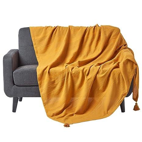 HOMESCAPES Rajput Manta Acanalada – 60 x 80 Pulgadas – Amarillo Mostaza – Hecho a Mano 100% algodón – Apto para sofás de 2 plazas – Colcha Individual ...