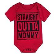 A&J DESIGN Newborn Boys Gentleman Bodysuits Outfits (0-3 Months, Red)