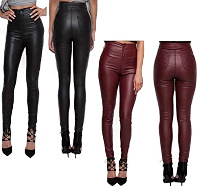newest baby where can i buy GirlFriendMaterial GFMaterial Womens Skinny Fit PU High Waist Leather Wet  Look Legging Jeans Stretch Trousers Party Pants Bottom