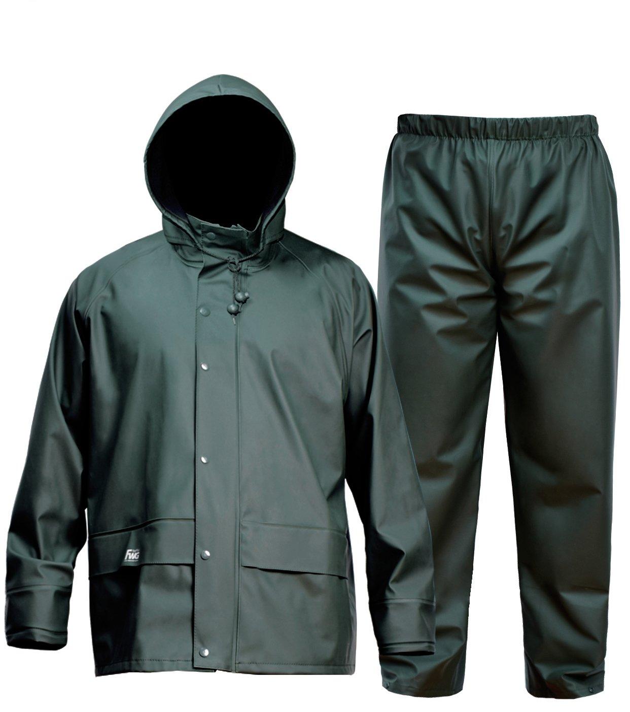 Navis Marine FWG Men's Rain Suit Commercial Fishing Heavy Duty Workwear Waterproof Jacket with Pants 3 Pieces (XXL)