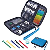 Travel Cable Organizer Bag Waterproof Portable Electronic Organizer for USB Cable Cord Phone Charger Headset Wire SD…