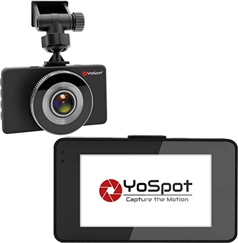 YoSpot Dash Cam Dashboard Camera Recorder True 1080P Full HD Car HDR, 170 Degree Lens,Super Night Vision, Loop Recording Parking Monitor Guard w o Micro SD Card