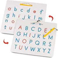Gamenote Double Sided Magnetic Letter Board - 2 in 1 Alphabet Magnets Tracing Board for Toddlers ABC Letters Uppercase…