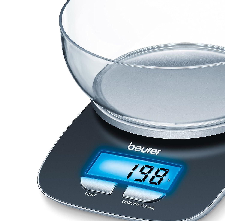 Beurer KS 25 Küchenwaage mit 1,2 l Plastikschüssel: digitale ...