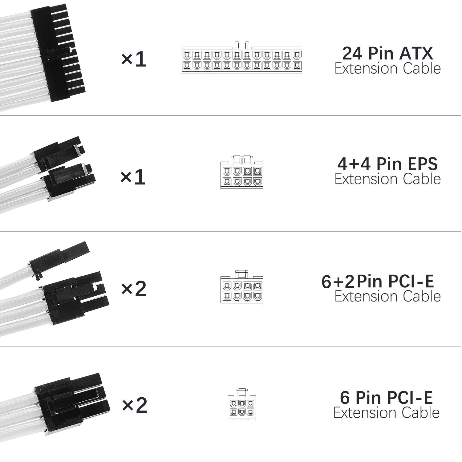 White Sleeved Cables PSU Extension Cable Kit with 30CM Sleeved 24-PIN 8-PIN 6-PIN 4+4-PIN for ATX Power Supply
