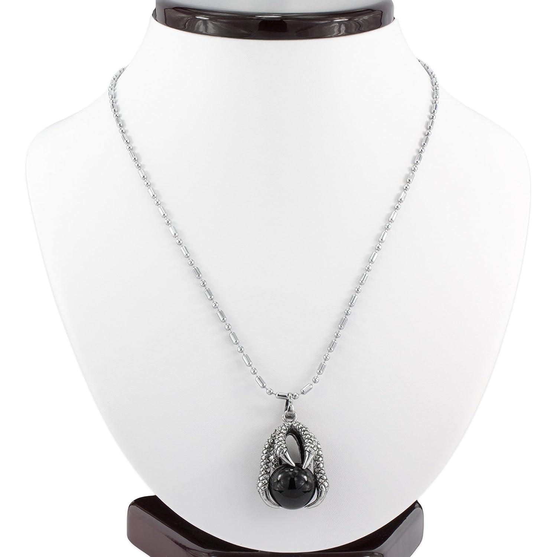 MESE London Khaleesi Dragon Egg Necklace Silver Khal Daenery's Claw Pendant - Elegant Gift Box mbte3JTaWk