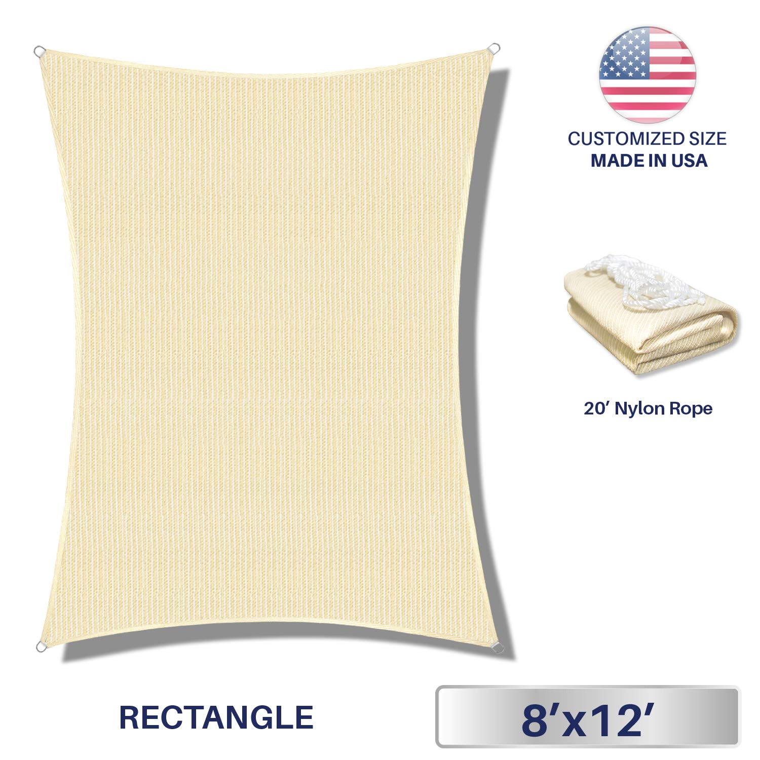Windscreen4less 8' x 12' Rectangle Sun Shade Sail-Beige with White Strips Durable UV Shelter Canopy for Patio Outdoor Backyard-Custom, 8' x 12'
