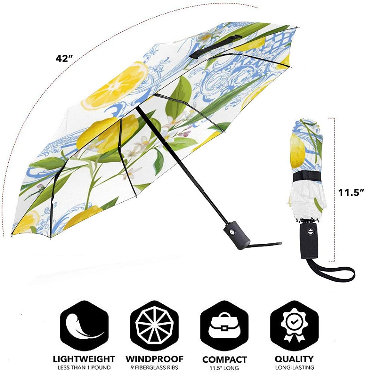 Seamless Pattern With Yellow Lemon Fruits Floral Compact Travel Umbrella Windproof Reinforced Canopy 8 Ribs Umbrella Auto Open And Close Button Personalized
