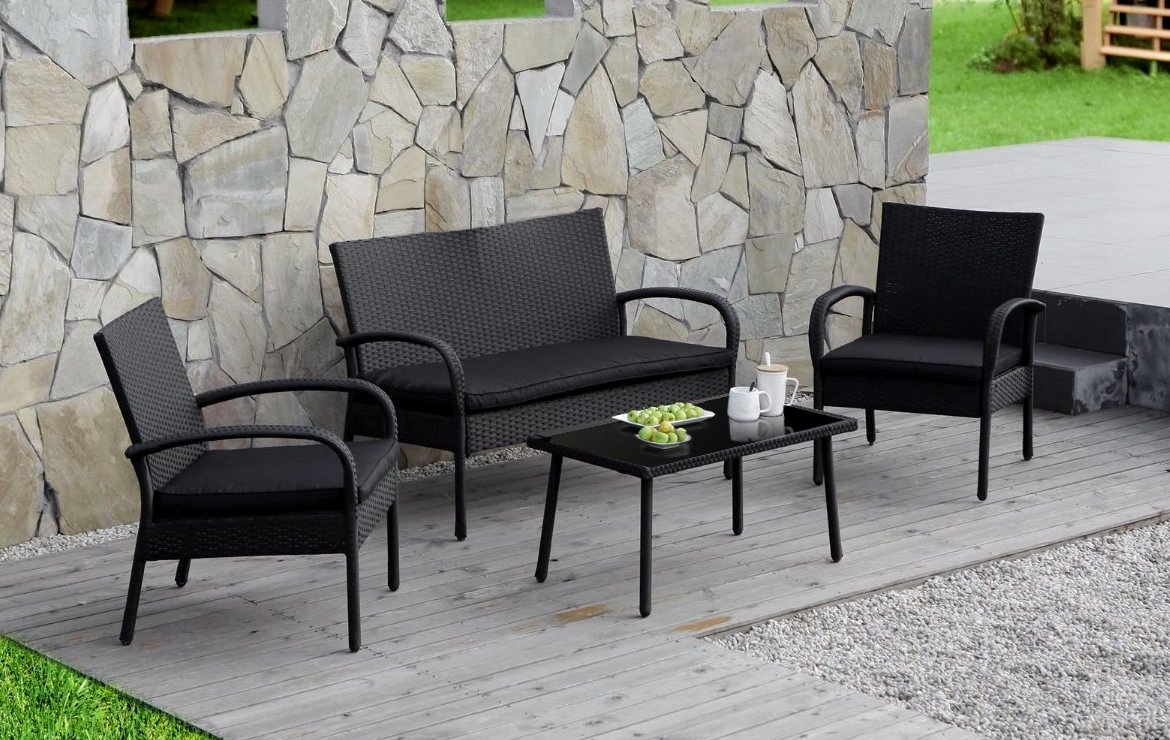 Cloud Mountain Patio Furniture 4 Piece Wicker Rattan Conversation Set Black Modern Fashion Style Easy Assembly Ergonomic Comfortable Thick Cushions Outdoor Garden Patio Lawn Balcony Pool with Non-Slip