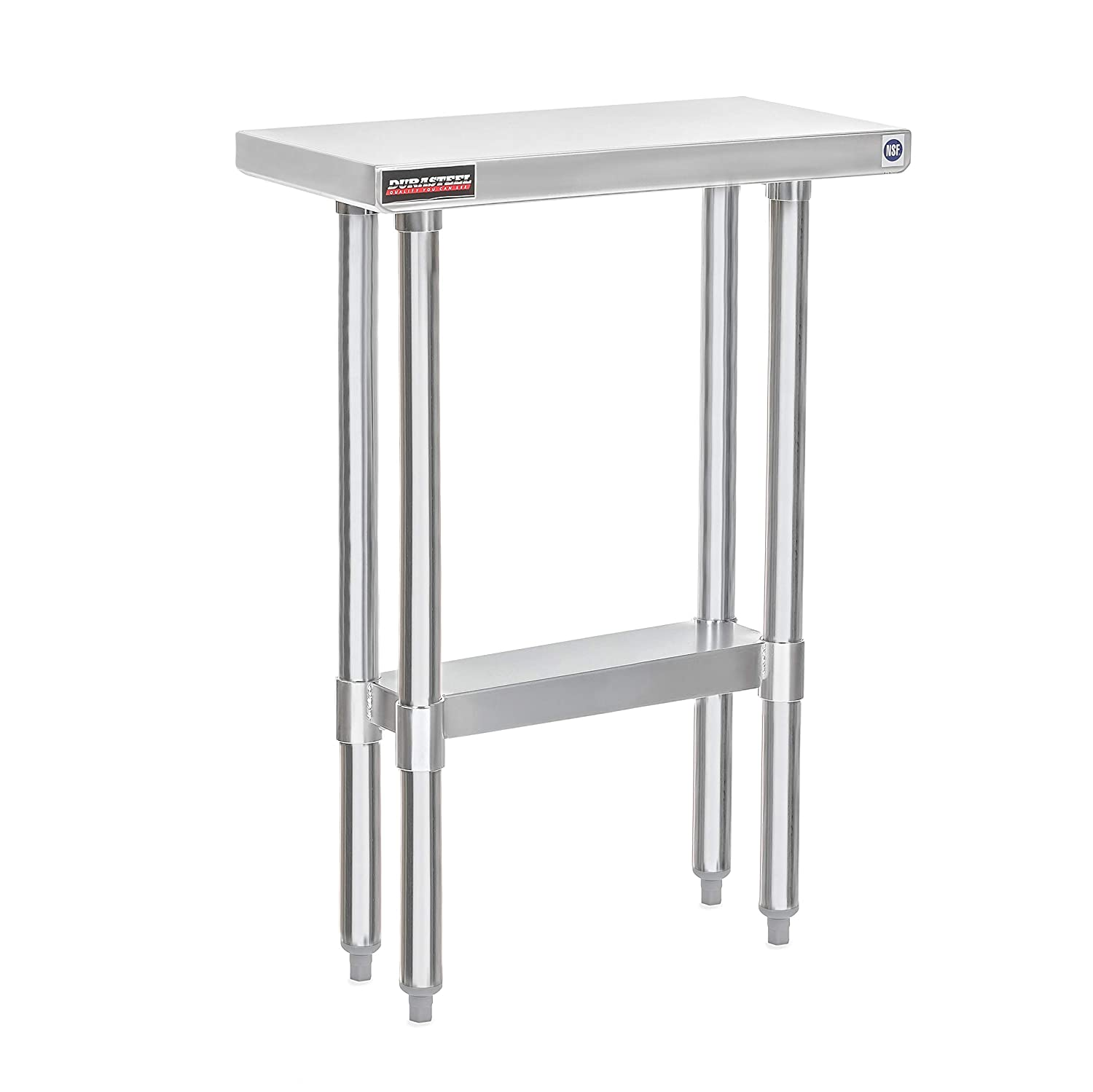 "DuraSteel Stainless Steel Work Table 24"" x 12"" x 34"" Height - Food Prep Commercial Grade Worktable - NSF Certified - Fits for use in Restaurant, Business, Warehouse, Home, Kitchen, Garage"