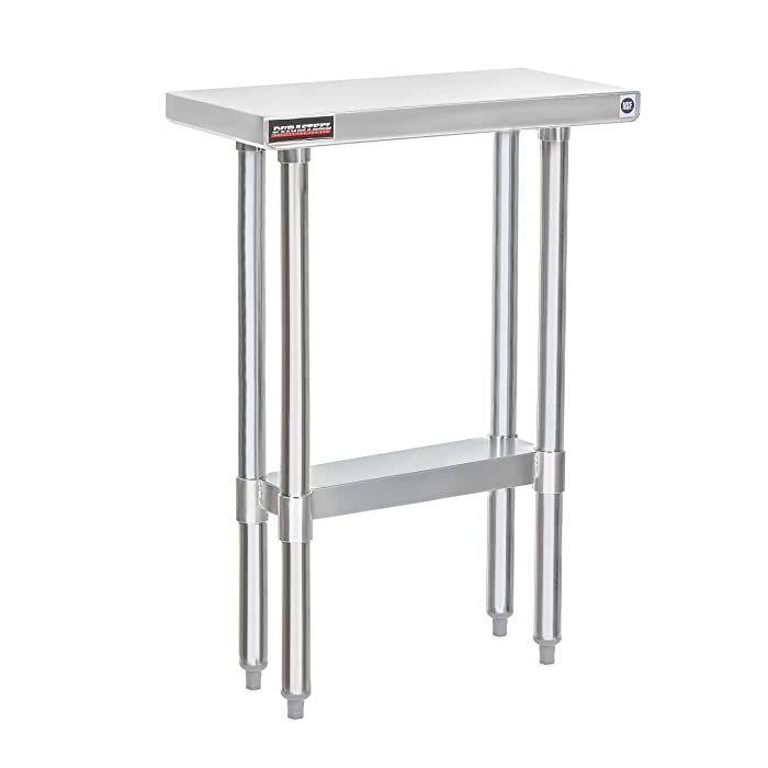 """DuraSteel Stainless Steel Work Table 24"""" x 12"""" x 34"""" Height - Food Prep Commercial Grade Worktable - NSF Certified - Fits for use in Restaurant, Business, Warehouse, Home, Kitchen, Garage"""