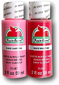 Apple Barrel Acrylic Paint Valentines Set - Bright Red and Candy Pink (2 Ounces Each)