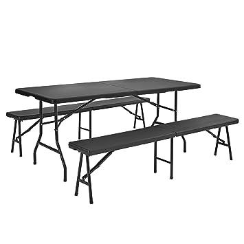 casa.pro] Set de comedor para jardín mesa con 2 bancos gris plegable ...