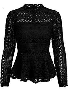 82eeb579861 DEEBAI Women s Elegant Mock Neck Lace Hollow Out Long Sleeve Ruffles Hem  Office Blouse Tops