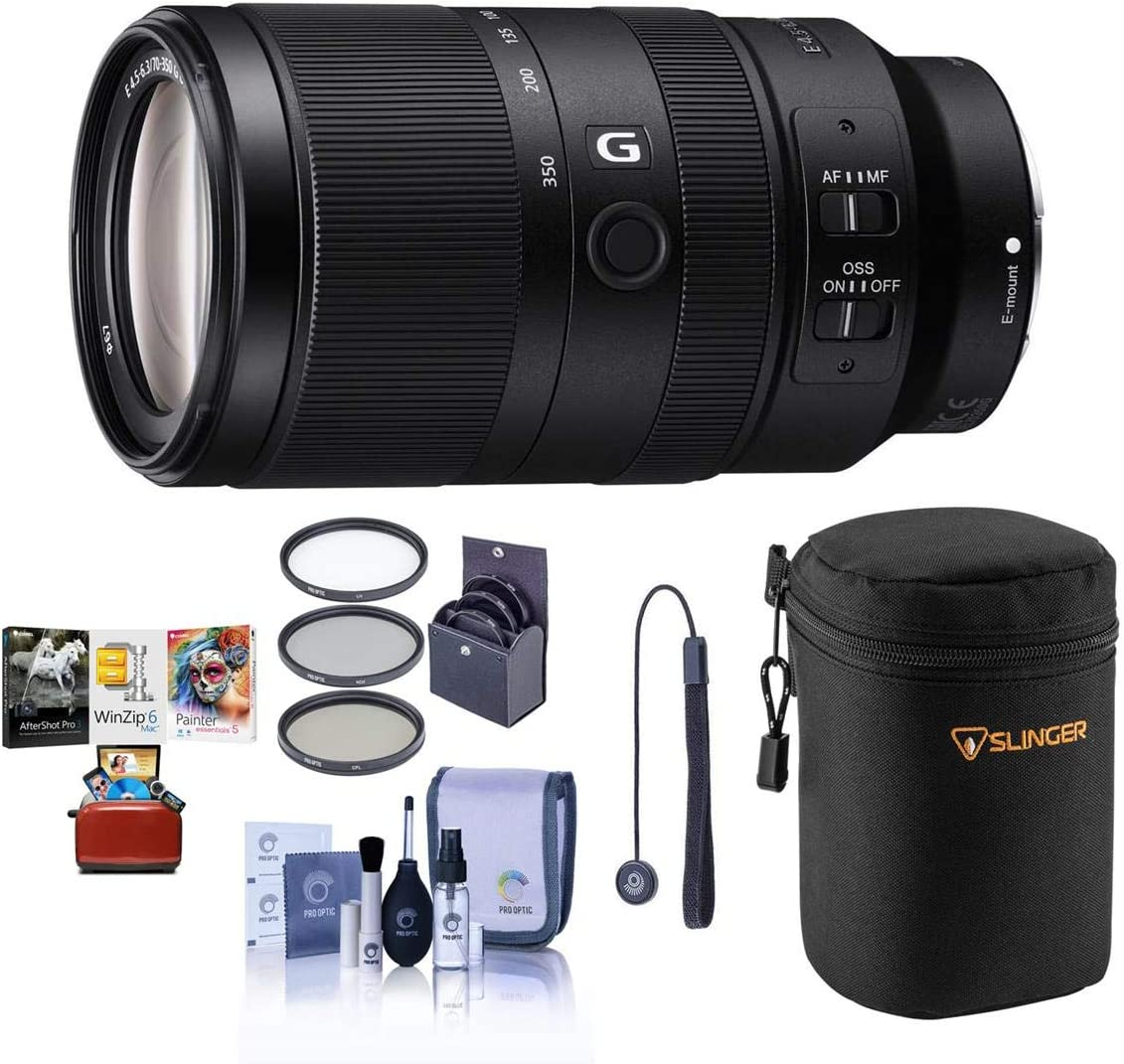 Sony E 70-350mm f/4.5-6.3 G OSS Lens - Bundle with Lens Case, 67mm Filter KIt, Capleash II, Cleaning kit, Mac Software Package