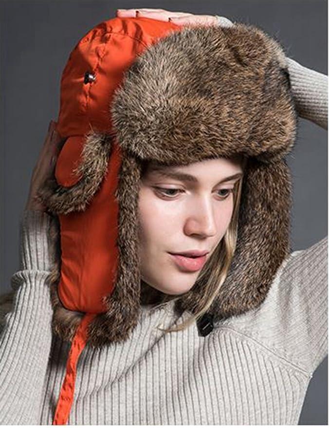 21d3ecc14e7567 Ferand Cappello Unisex Adulto Trapper con Pelliccia di Coniglio para Sci  Snowboard Inverno, Arancione: Amazon.it: Abbigliamento