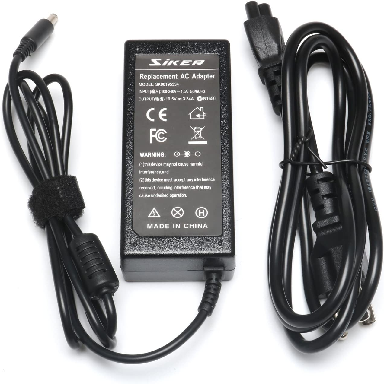19.5V 3.34A 65W AC Power Adapter Charger for Dell Inspiron 15-3000 15-5000 15-7000 11-3000 13-5000 13-7000 17-5000 XPS 13 Series 5559 5558 5755 5758 P20T P20T002 with Size 4.5mm 3.0mm
