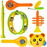 WISHKEY Colourful Plastic BPA Free Non Toxic Set of 7 Musical Instruments Rattle for New Borns,Maraca,Blowing Trumpets, Tambourines, Castanets