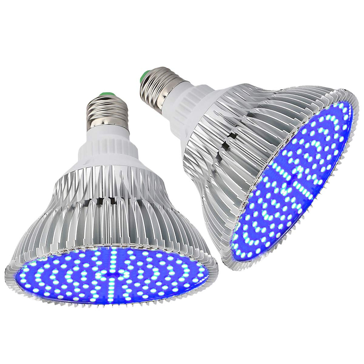 (Pack of 2) Byingo LED Grow Light Bulb - 50W (250W Equivalent) 450-460nm All Deep Blue Spectrum - Aluminum Shell with Good Heat Dissipation - for Indoor Plants Flowering and Fruiting 71cG8cF7tUL