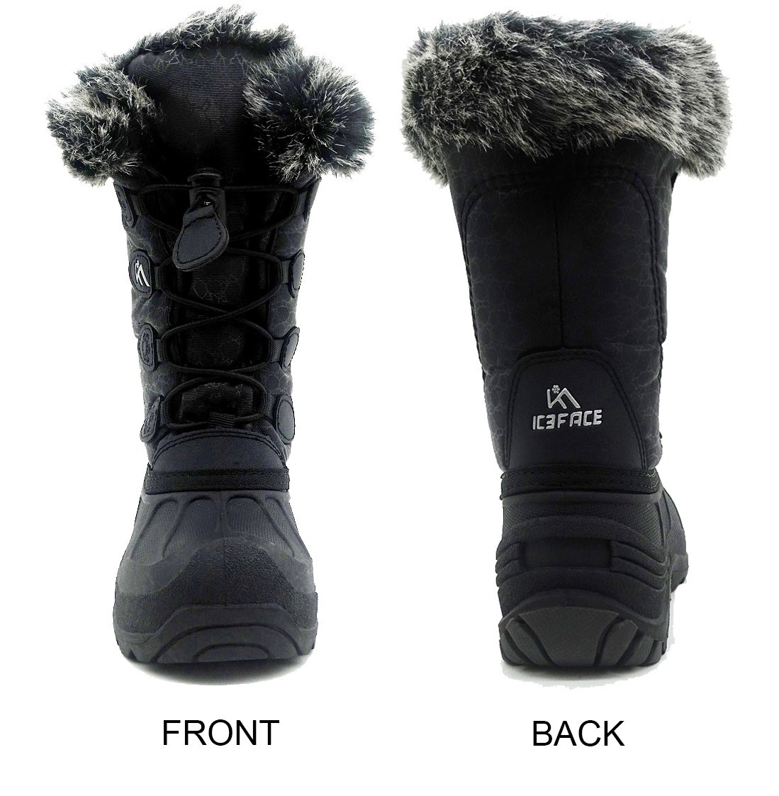 Kids Winter Snow Boots Waterproof and Insulated for Girls and Boys (13 M US Little Kid, Black) by ICEFACE (Image #2)